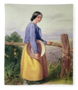 A Country Girl Standing By A Fence Fleece Blanket
