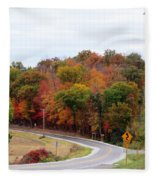 A Country Road In Autumn Fleece Blanket