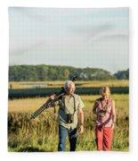 A Couple Bird Watching On A Salt Marsh Fleece Blanket
