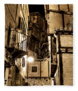 A Couple In A Little Restaurant In The Ancient City Of Albarracin Fleece Blanket