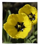 A Couple Of Bright Yellow Tulip Flowers Fleece Blanket