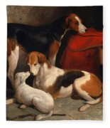A Couple Of Foxhounds With A Terrier The Property Of Lord Henry Bentinck Fleece Blanket