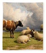 A Cow And Five Sheep Fleece Blanket