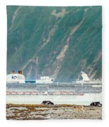 A Cruise Ship Passes By A Wolf Roaming Fleece Blanket