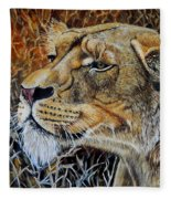 A Curious Lioness Fleece Blanket