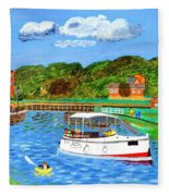 A Day On The River In Exeter Fleece Blanket