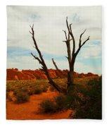 A Dead Tree Foreground A Maze Of Rocks Fleece Blanket