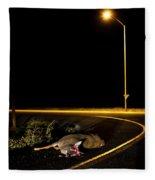 A Deer Lies Dead On The Side Fleece Blanket