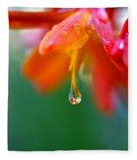 A Delicate Touch - Water Droplet - Orange Flower Fleece Blanket
