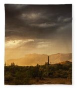 A Desert Monsoon Sunset  Fleece Blanket