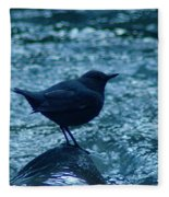 A Dipper On A Rock Fleece Blanket