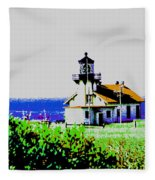 A Distant Light House Fleece Blanket