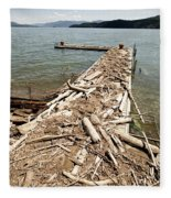 A Dock Covered With Driftwood Fleece Blanket