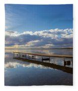 A Dock Leading Out Into The Lake At Fleece Blanket
