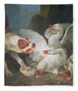 A Dog Attacking Geese, 1769 Oil On Canvas Fleece Blanket