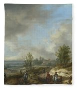 A Dune Landscape With A River And Many Figures Fleece Blanket