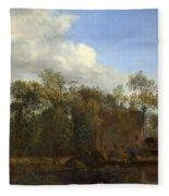 A Farm Among Trees Fleece Blanket
