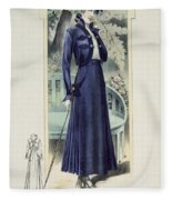 A Fashionable French Lady Fleece Blanket