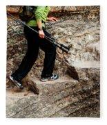 A Female Hiker Walking Up Steps Chopped Fleece Blanket