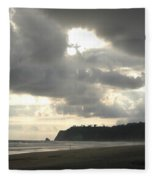 A Figure Strolls Along The Beach, Playa Fleece Blanket