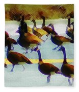 A Flock Of Geese Fleece Blanket