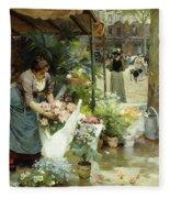 A Flower Market In Paris Fleece Blanket