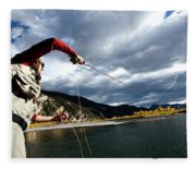 A Fly Fisher Casting His Line Fleece Blanket