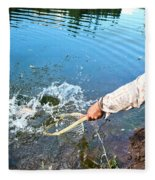 A Fly Fisherman Pulls A Fish Fleece Blanket