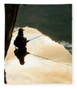 A Fly Fisherman Standing In A River Fleece Blanket