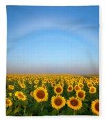 A Fog Bow Over The Colorado Sunflower Fields Fleece Blanket