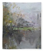 A Foggy Fall Day By The Pond  Fleece Blanket