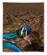 A Fractual Peacock  Fleece Blanket
