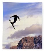 A Freestyle Skier Takes A Jump In Utah Fleece Blanket