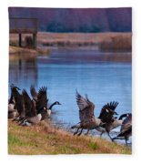 A Gaggle Of Geese Fleece Blanket