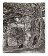 A Gentleman Sitting Beneath A Large Native Tree In British Ceylon Fleece Blanket