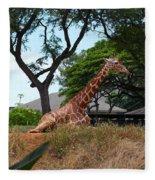 A Giraffe Rests In Honolulu Fleece Blanket