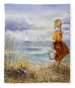 A Girl And The Ocean Fleece Blanket