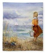 A Girl And The Ocean Fleece Blanket