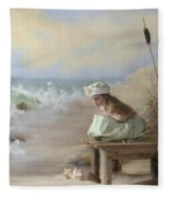 A Girl Posed By The Seashore Victoria Fleece Blanket