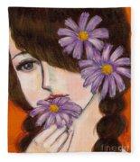 A Girl With Daisies Fleece Blanket