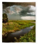 A Glow On The Marsh Fleece Blanket