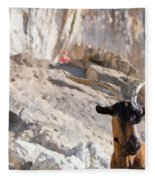 A Goat Hanging Out At The Base Fleece Blanket