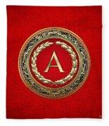 A - Gold Vintage Monogram On Red Leather Fleece Blanket