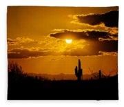 A Golden Southwest Sunset  Fleece Blanket