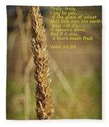 A Grain Of Wheat Fleece Blanket