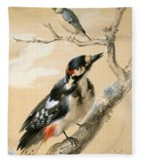 A Great Spotted Woodpecked And Another Small Bird Fleece Blanket
