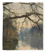 A Great Tree On A Riverbank Fleece Blanket