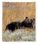 A Grizzily On A Buffalo Carcass Fleece Blanket