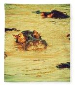 A Group Of Hippos In A River. Tanzania Fleece Blanket