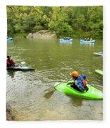 A Group Of Kayakers, Rafters Fleece Blanket